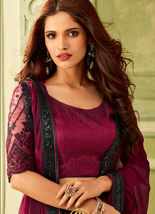 Plum Purple And Black Embroidered Saree