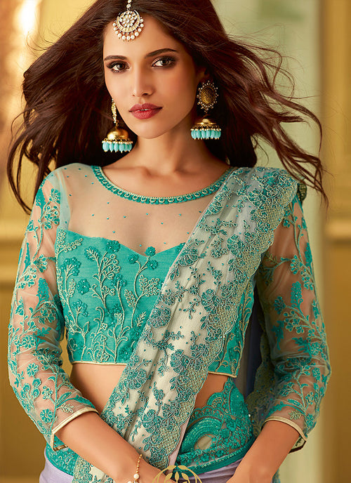 Aqua Blue And Pink Shaded Embroidered Saree