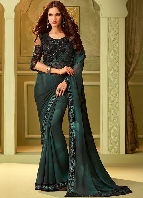 Dark Green And Black Shaded Embroidered Saree