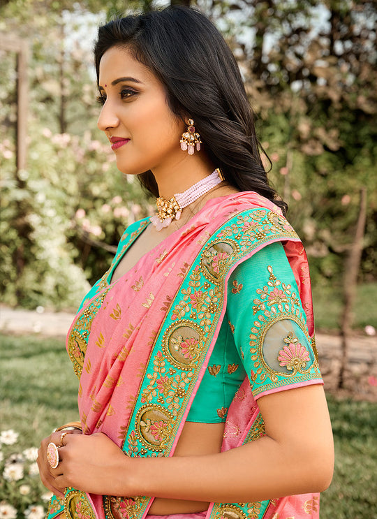 Pink And Green Embroidered Silk Saree