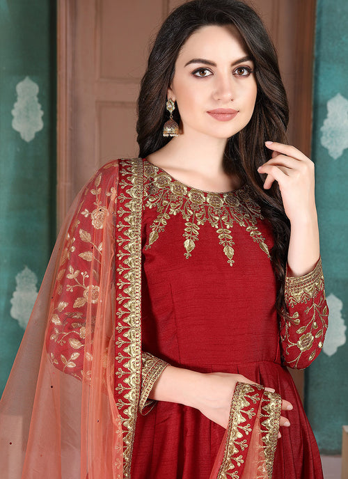 Indian Clothes - Red Golden Embroidered Anarkali Suit