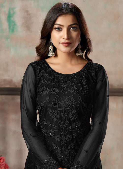Indian Clothes - Black Sequence Embroidered Pant Style Suit