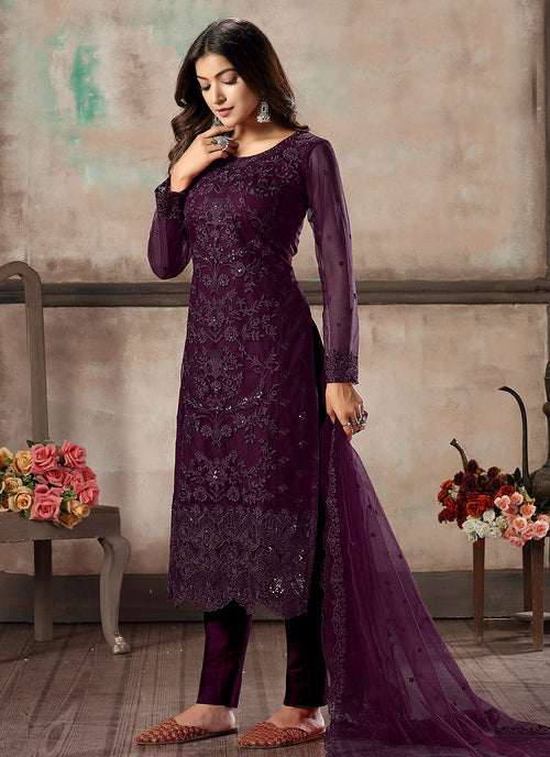 Indian Clothes - Purple Embroidered Pant Style Suit