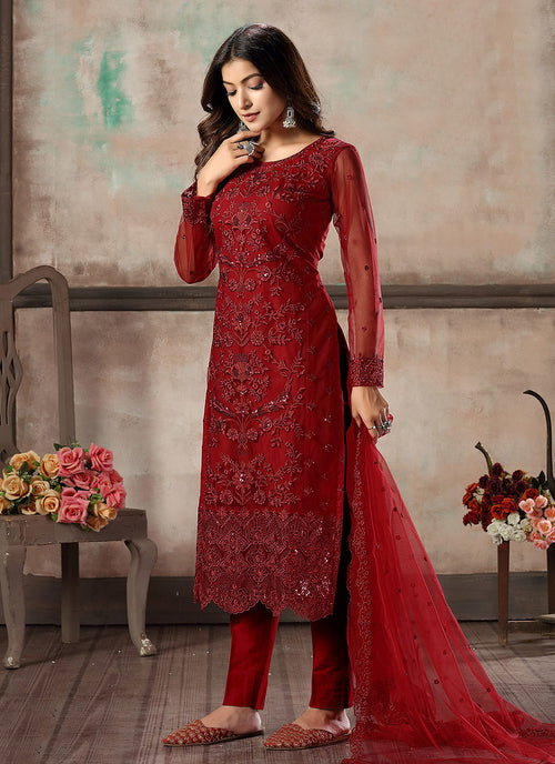 Indian Clothes - Bridal Red Embroidered Pant Style Suit