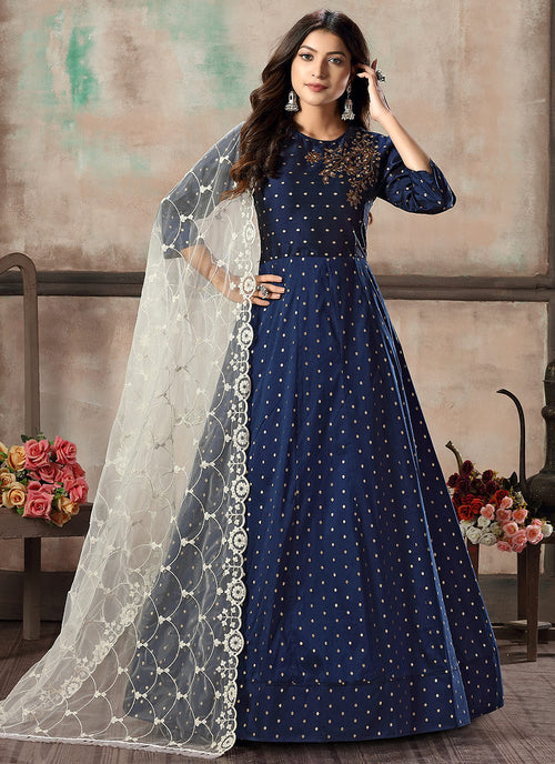 Indian Clothes - Blue And Grey Bunch Anarkali Suit