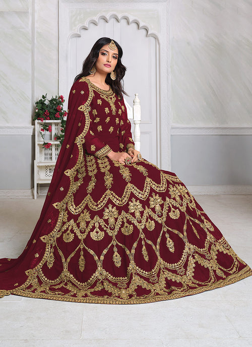 Red Embroidered Anarkali Suit In usa uk canada