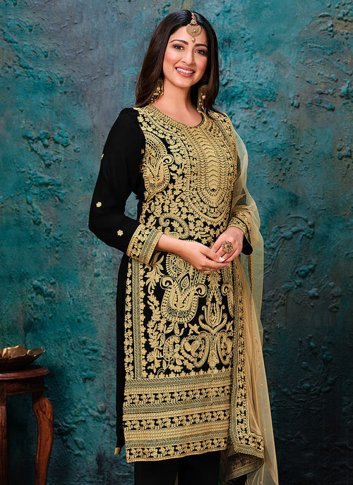 Black Golden Pant Style Suit In usa uk canada