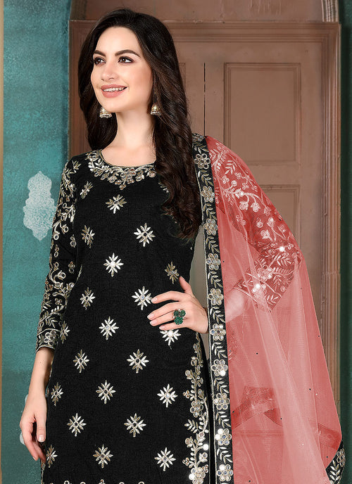Indian Suits - Black Mirror Work Salwar kameez Suit