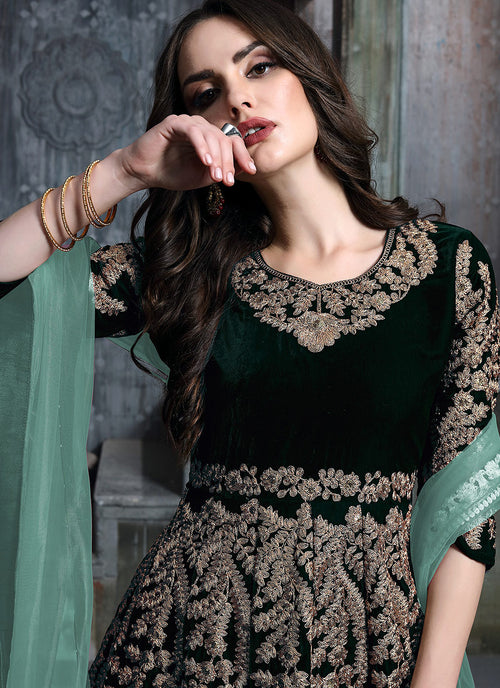 Green Golden Embroidered Indian Anarkali Suit, Salwar Kameez