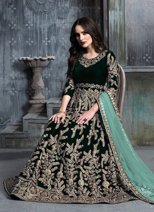 Green Golden Embroidered Indian Anarkali Suit
