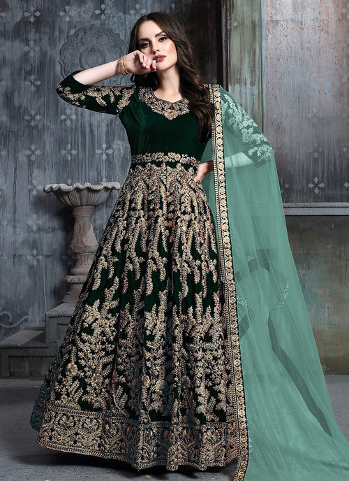 Indian Clothes - Green Golden Embroidered Indian Anarkali Suit