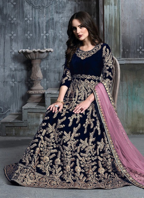 Blue And Pink Embroidered Indian Anarkali Suit