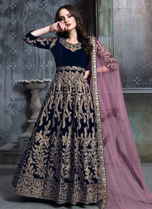 Indian Clothes - Blue And Pink Embroidered Indian Anarkali Suit