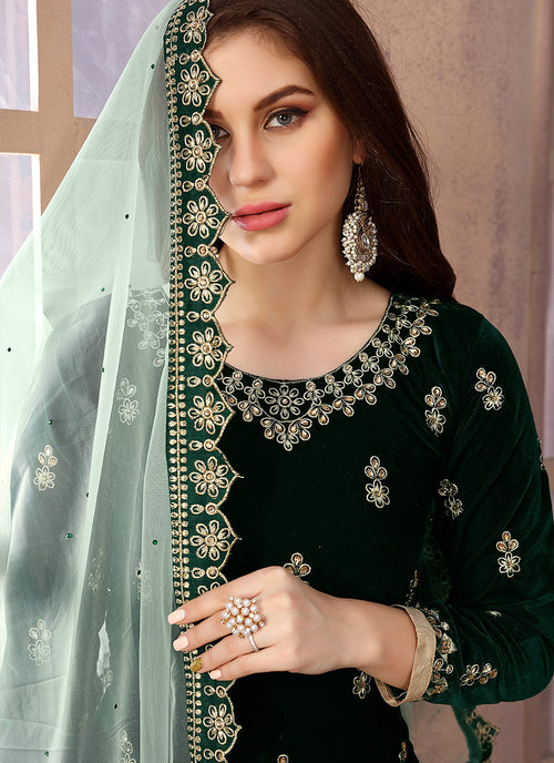 Dark Green Embroidered Salwar Kameez Suit, Salwar Kameez