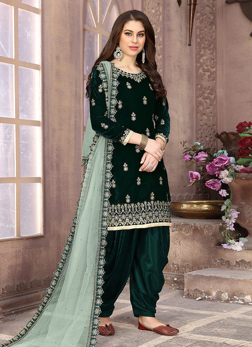 Indian Clothes - Dark Green Embroidered Salwar Kameez Suit
