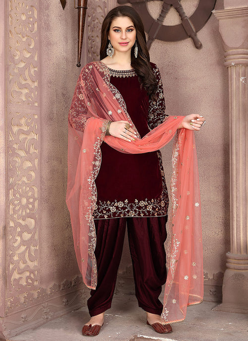 Indian Clothes - Maroon And Peach Embroidered Salwar Kameez Suit