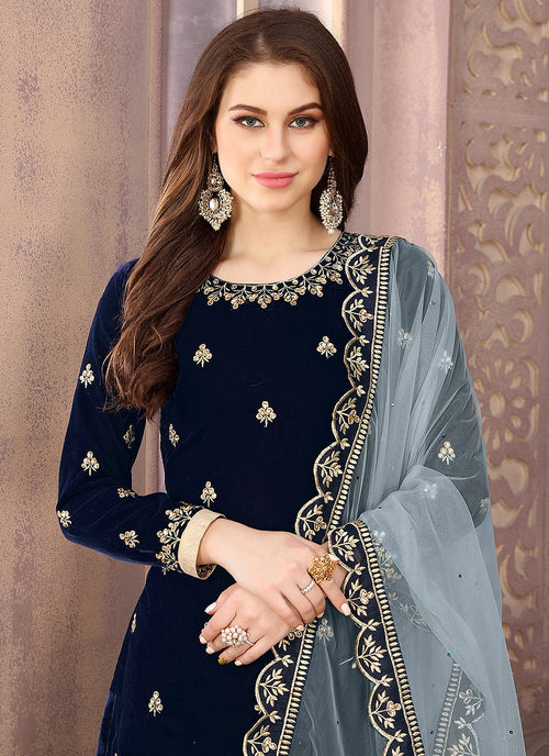 Navy Blue Embroidered Salwar Kameez Suit, Salwar Kameez