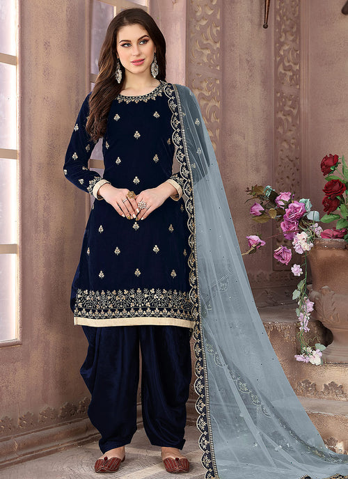 Indian Clothes - Navy Blue Embroidered Salwar Kameez Suit
