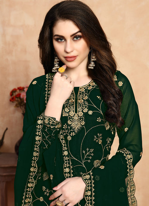 Green Golden Embroidered Designer Sharara Style Suit, Salwar Kameez