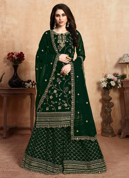 Indian Clothes - Green Golden Embroidered Designer Sharara Style Suit