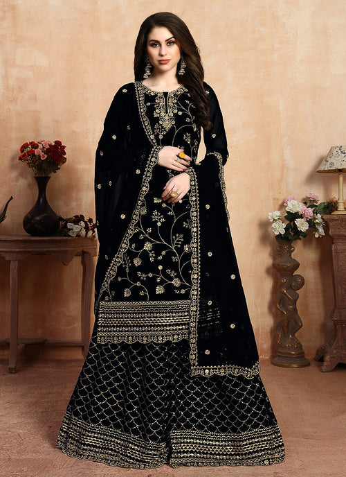 Indian Clothes - Black Golden Embroidered Designer Sharara Style Suit