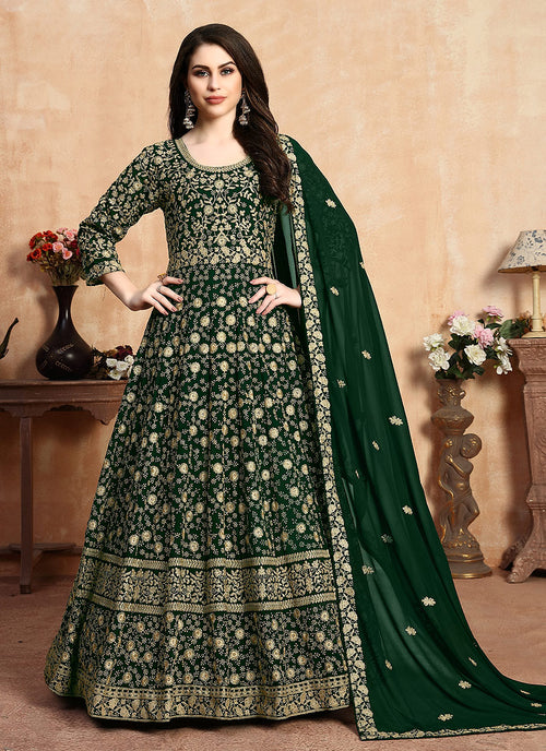 Indian Clothes - Green Zari Embroidered Designer Anarkali Suit