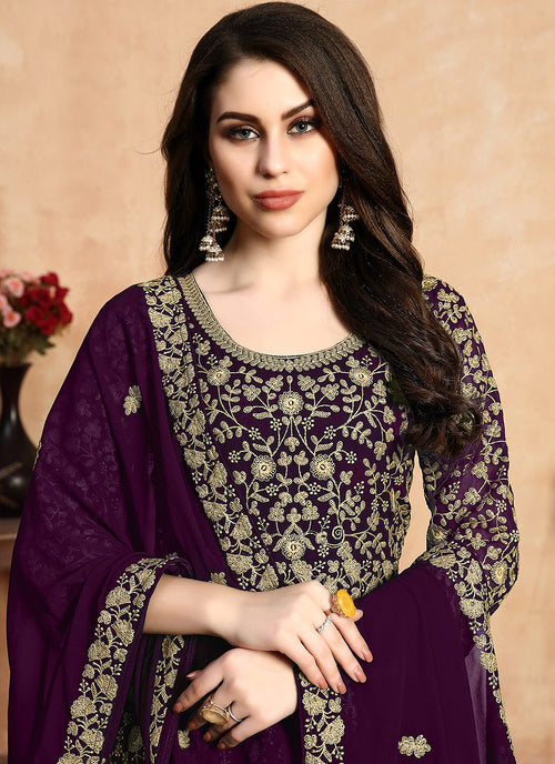 Indian Clothes - Purple Zari Embroidered Designer Anarkali Suit,salwar kameez