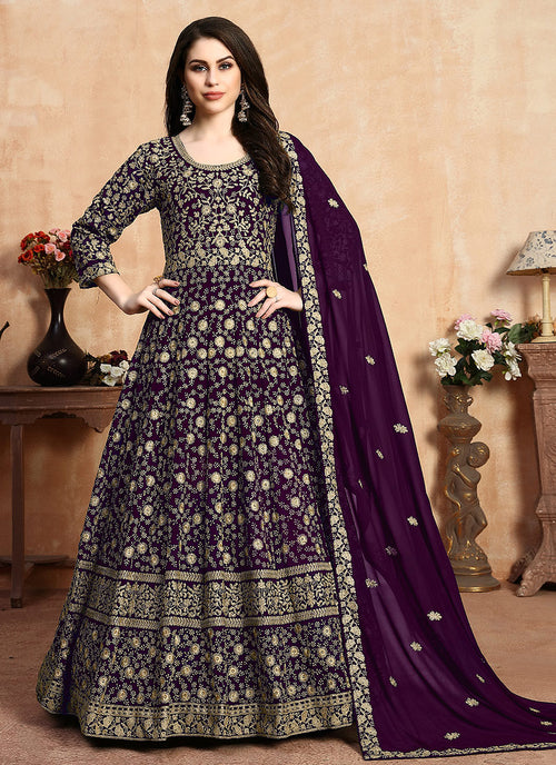 Indian Clothes - Purple Zari Embroidered Designer Anarkali Suit