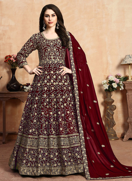 Indian Clothes - Bridal Red Zari Embroidered Designer Anarkali Suit