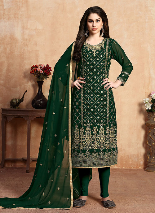 Indian Clothes - Green Golden Zari Embroidered Designer Pants Suit