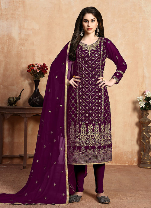 Plum Zari Embroidered Designer Pants Suit