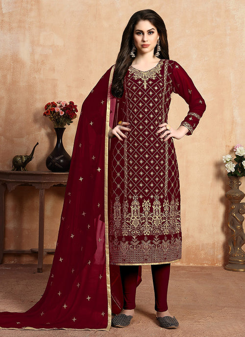Indian Clothes - Red Golden Zari Embroidered Designer Pants Suit