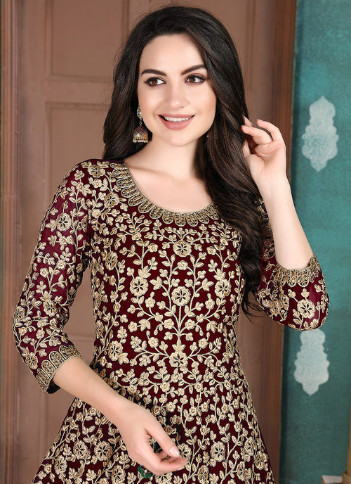 Indian Dresses - Marron Anarkali Suit