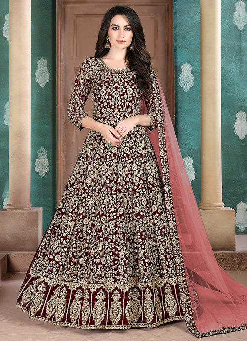 Marron Anarkali Suit