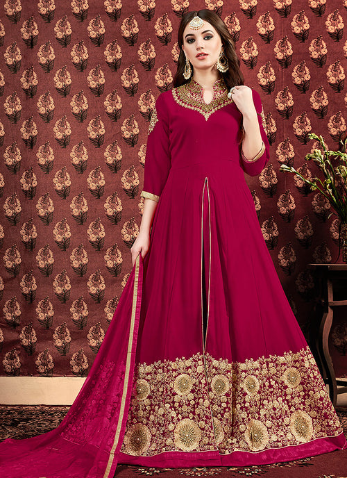 Pink Golden Georgette Slit Style Anarkali Pant Suit
