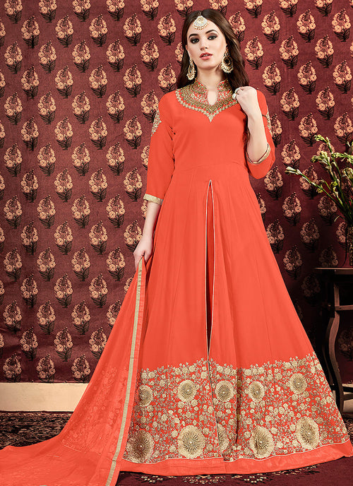 Orange Golden Georgette Slit Style Anarkali Pant Suit