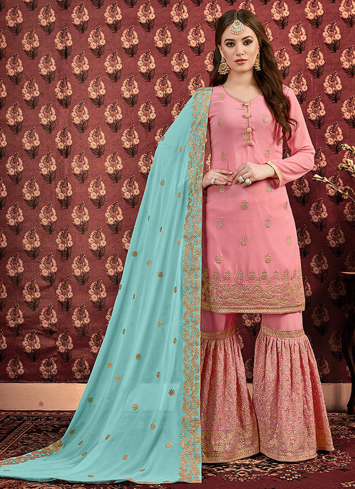 Pink And Blue Golden Embroidered Georgette Gharara Suit