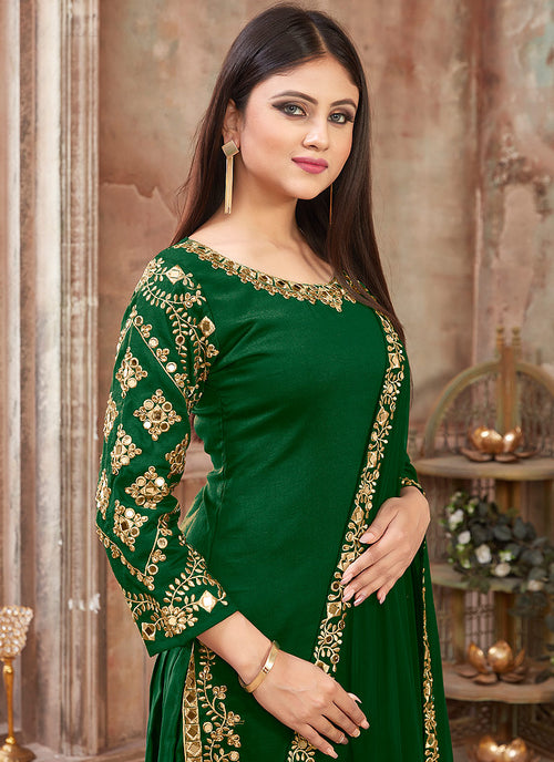 Green Embroidered Traditional Patiala Suit