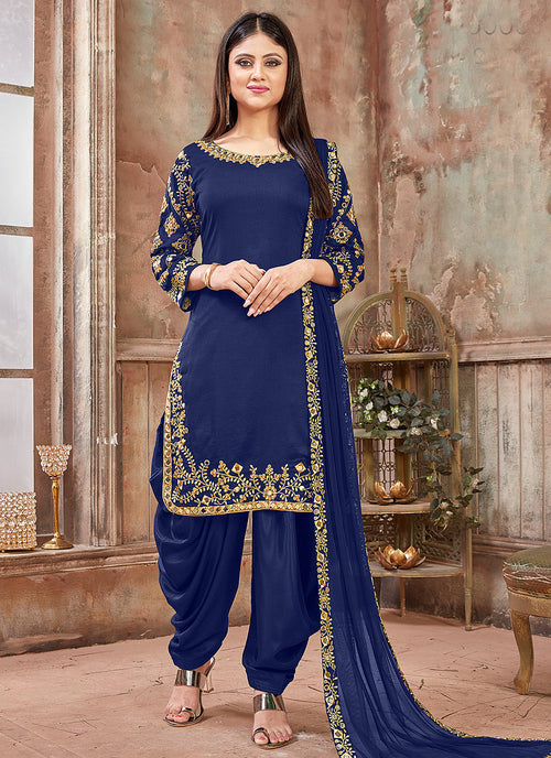 Dark Blue Embroidered Traditional Patiala Suit