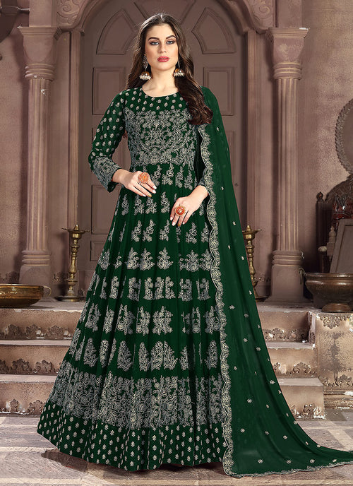 Indian Clothes - Dark Green Embroidered Wedding Anarkali Suit