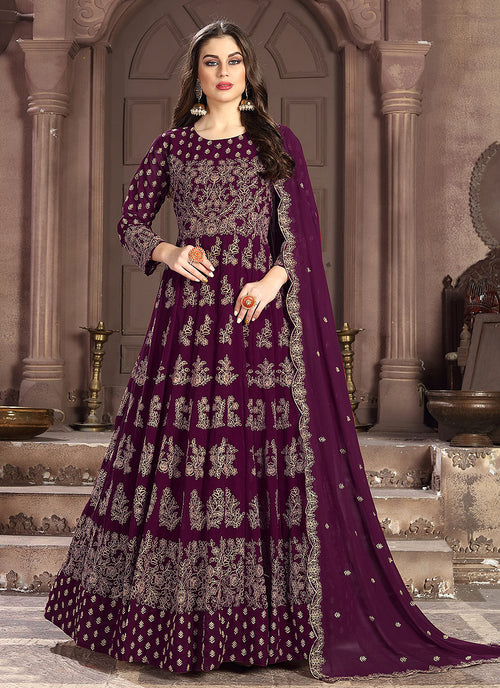 Deep Purple Embroidered Wedding Anarkali Suit