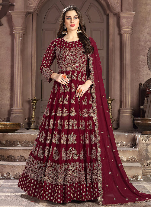 Indian clothes - Red Embroidered Wedding Anarkali Suit