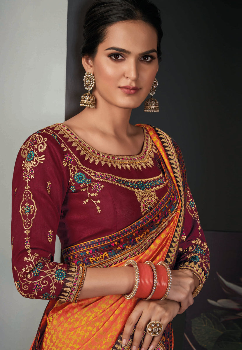 Orange And Maroon Traditional Embroidered Silk Saree
