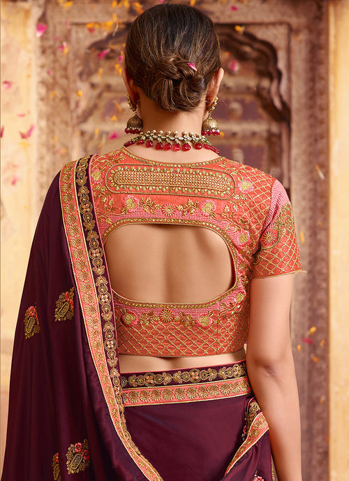 Plum Purple And Orange Zari Embroidered Saree