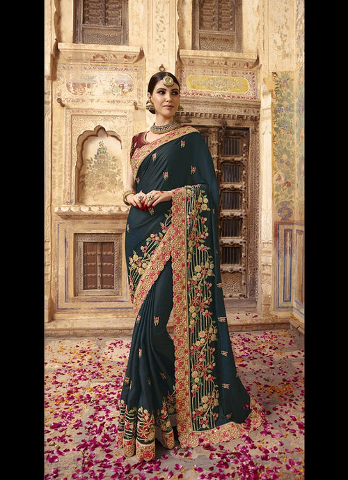 Dark Green And Red Zari Embroidered Saree
