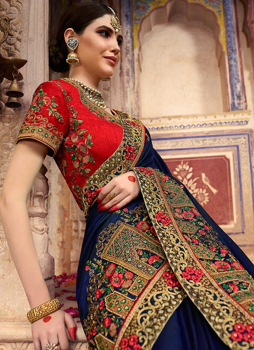 Dark Blue And Red Zari Embroidered Saree