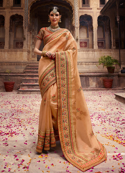 Golden Beige And Orange Zari Embroidered Saree