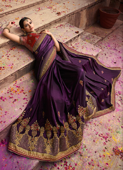 Purple And Maroon Zari Embroidered Saree