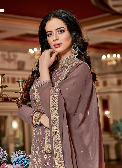 Mauve Golden Traditional Georgette Sharara Suit