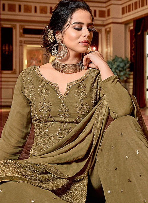 Olive Green Embroidered Georgette Sharara Suit